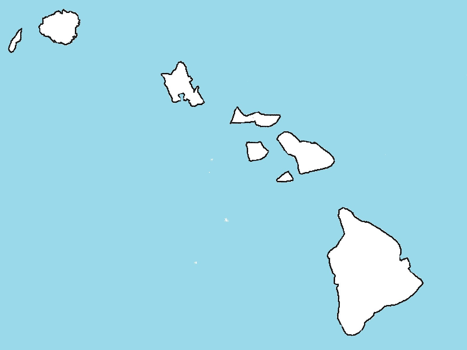 Hawaii Blank Outline Map | Large Printable and Standard Map 3