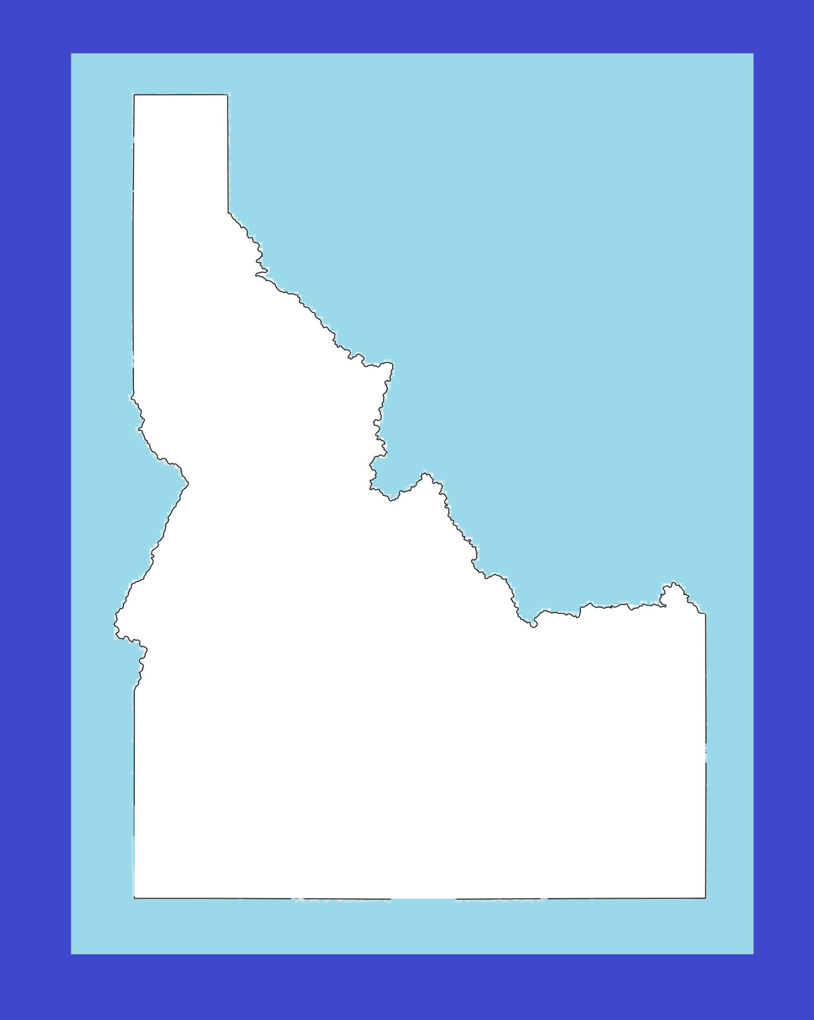Idaho Blank Outline Map | Large Printable and Standard Map 1