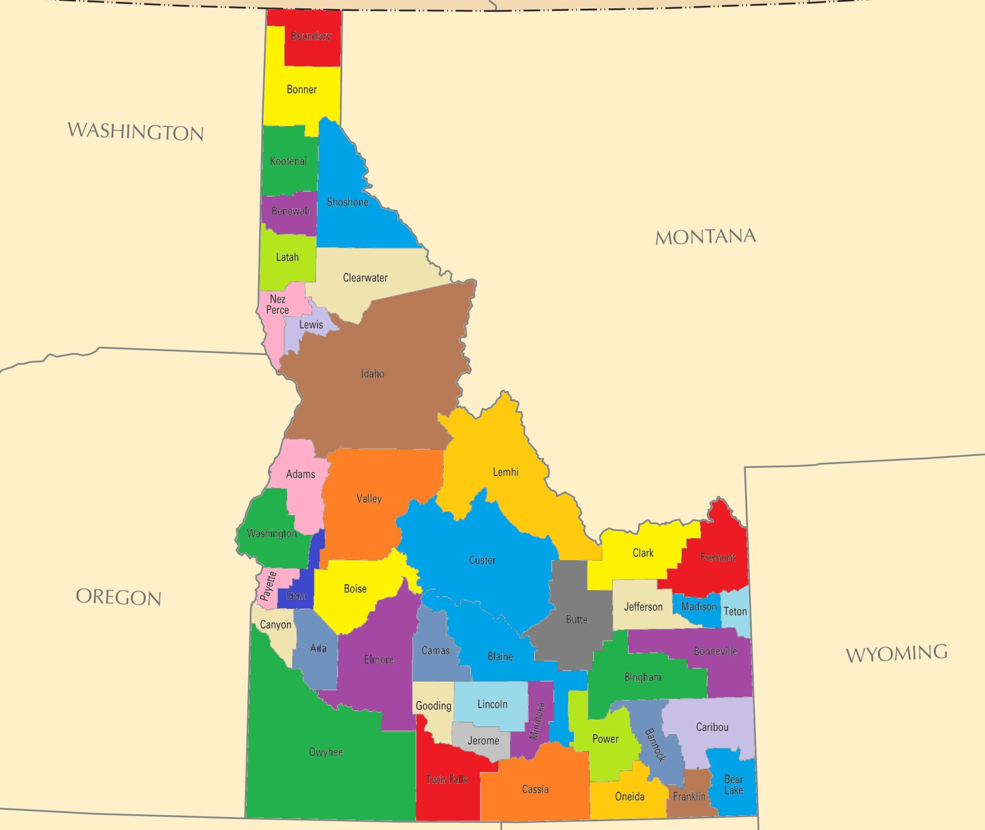 Idaho County Map   Large Printable and Standard Map 2