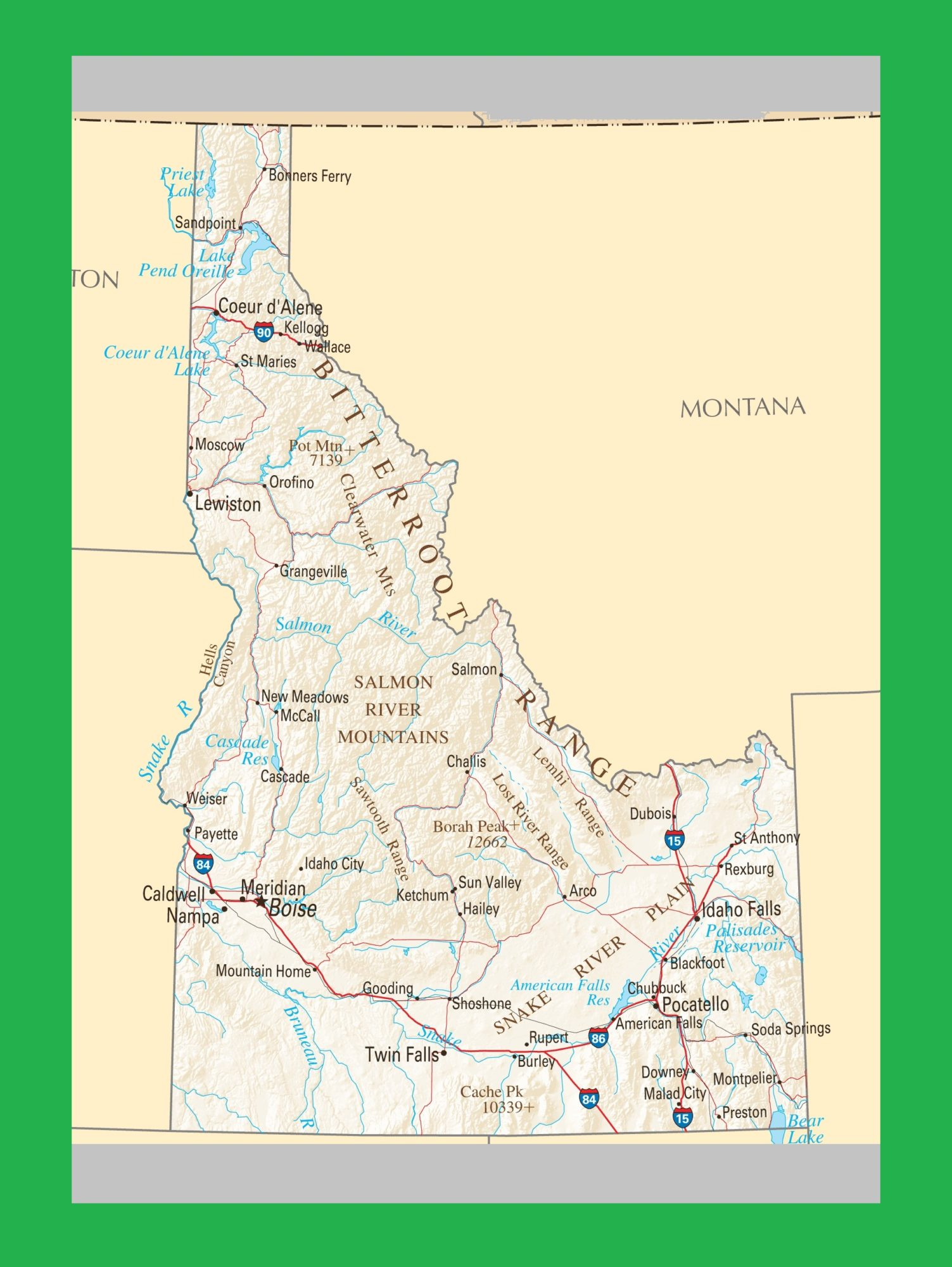 Idaho Political Map   Large Printable and Standard Map