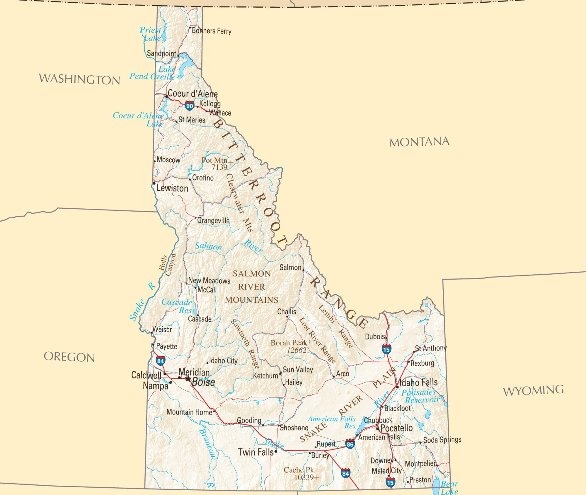 Idaho Political Map | Large Printable and Standard Map 3