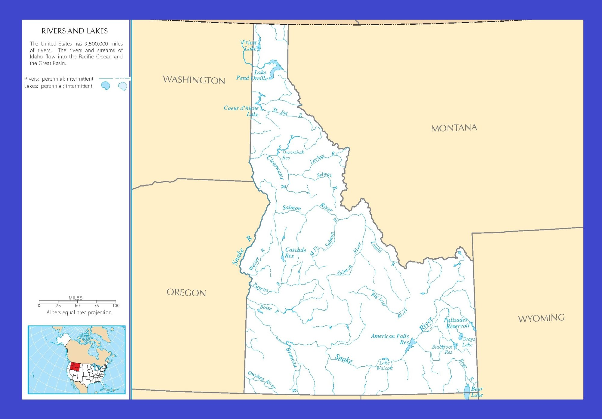Idaho River Map | Large Printable and Standard Map 1