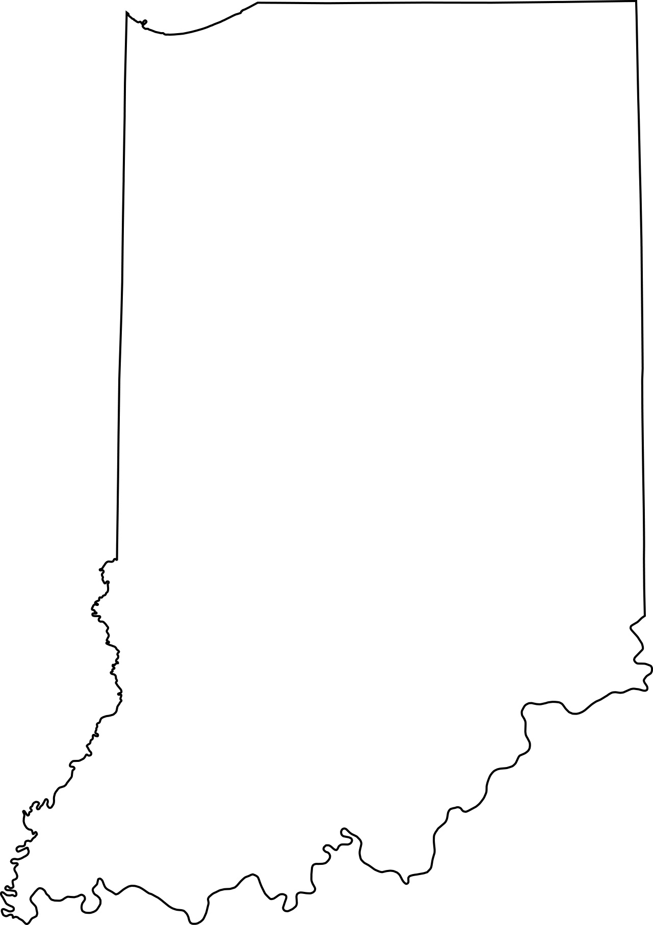 Indiana blank outline Map | Large Printable High Resolution and Standard Map