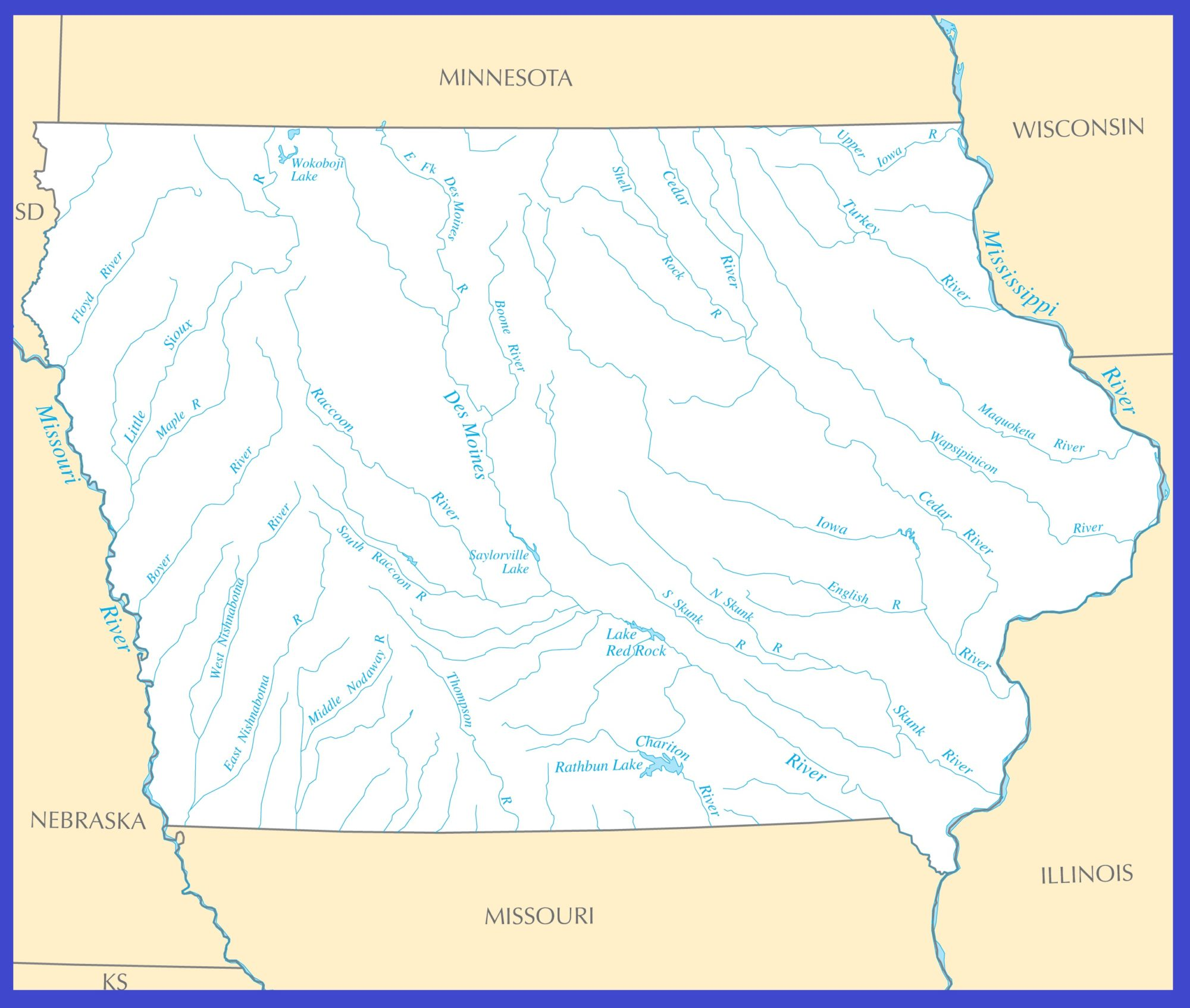 Iowa Rivers Map   Large Printable High Resolution and Standard Map
