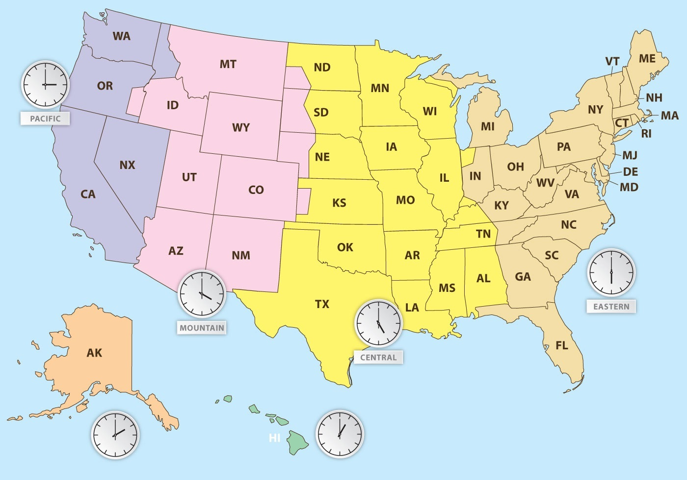 Us Time Zones Printable Map The United States Time Zone Map | Large Printable Colorful with