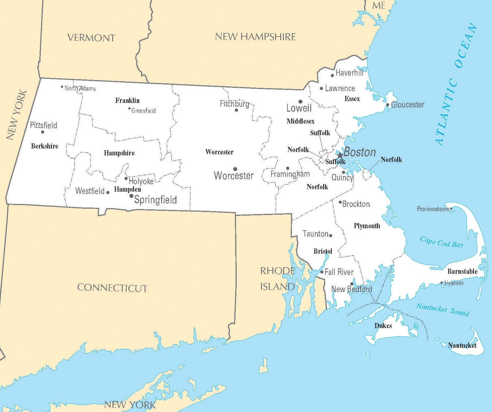 Massachusetts City Map | Large Printable High Resolution and Standard Map