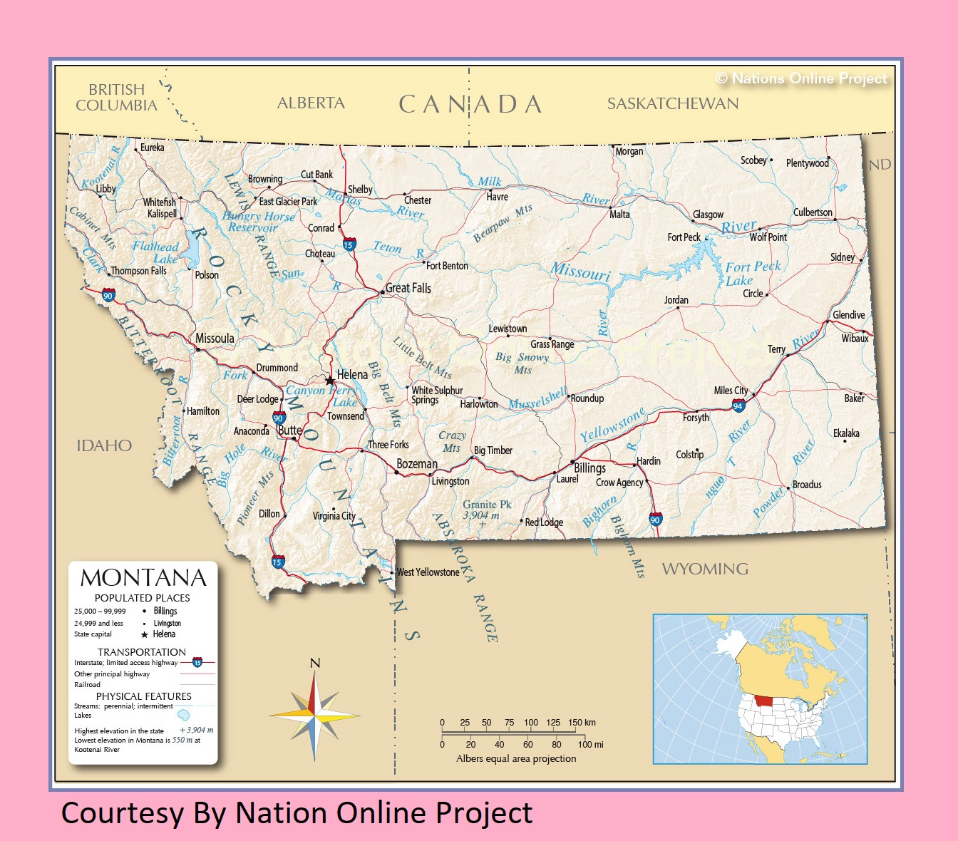 Picture of: Montana Transportation And Physical Map Large Printable Whatsanswer
