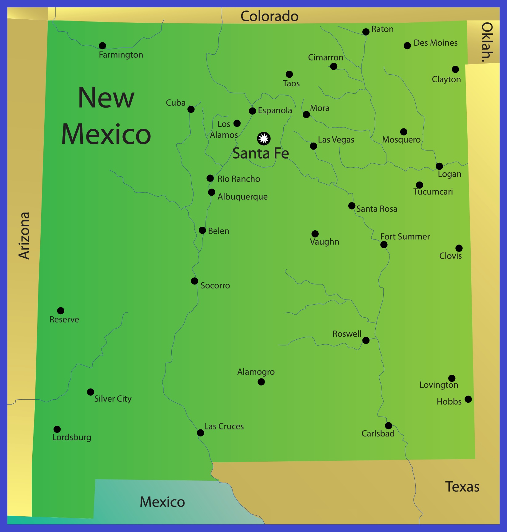 New Mexico Details Map | Large Printable High Resolution and Standard Map