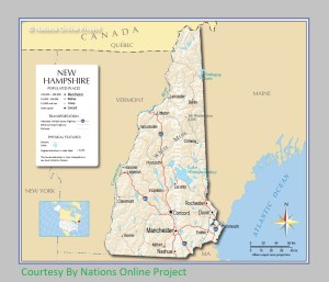 New Hampshire Transportation and physical map large printable