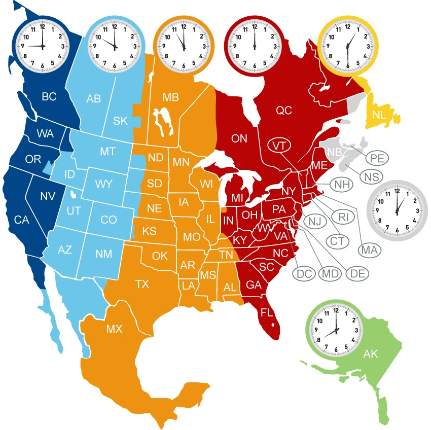 The North America Time Zone Map | Large Printable Colorful ...