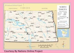 North Dakota Transportation and physical map large printable