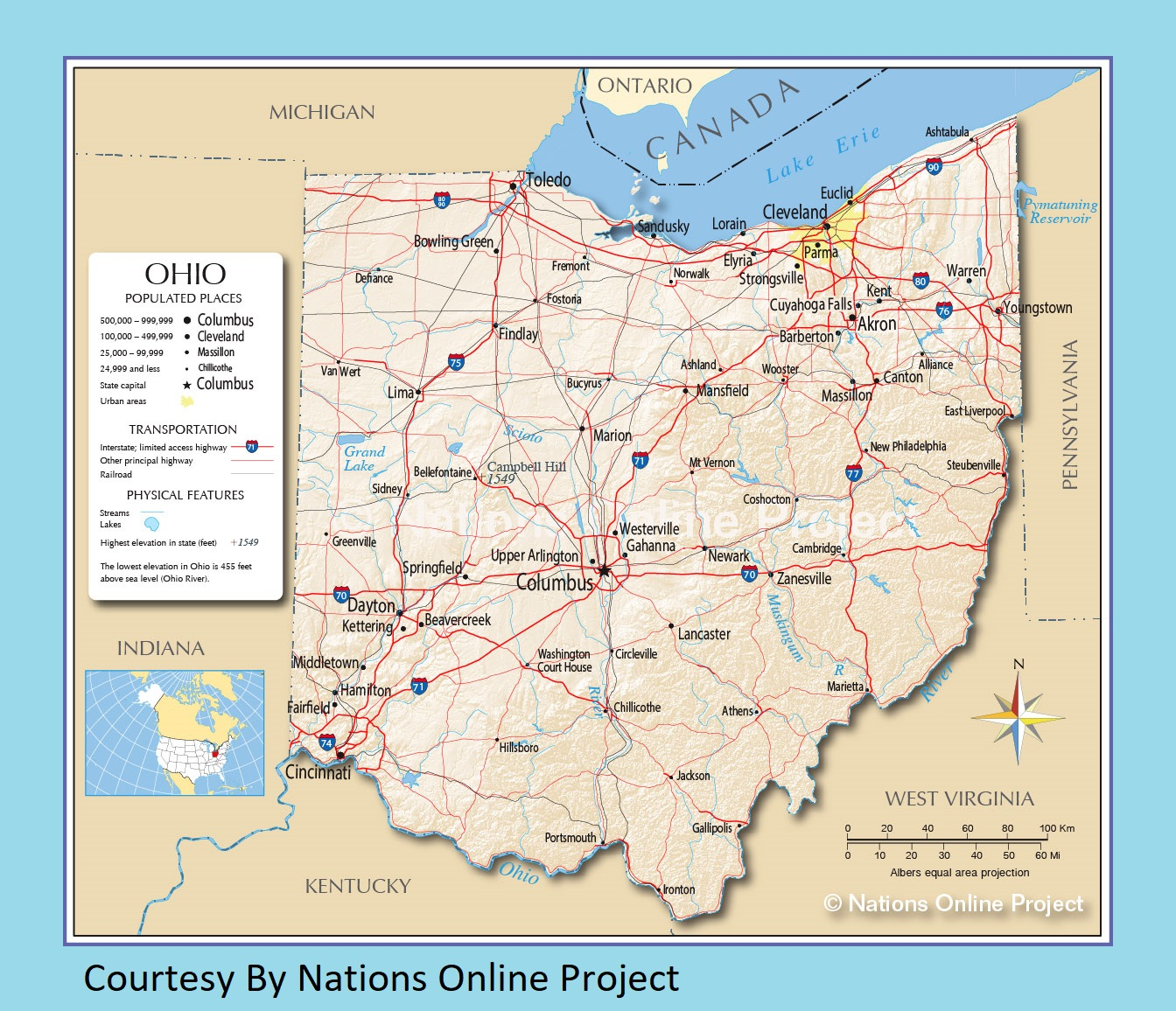 photo relating to Printable Map of Ohio titled Ohio Transport and bodily map enormous printable