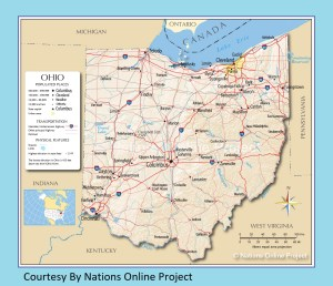 Ohio Transportation and physical map large printable