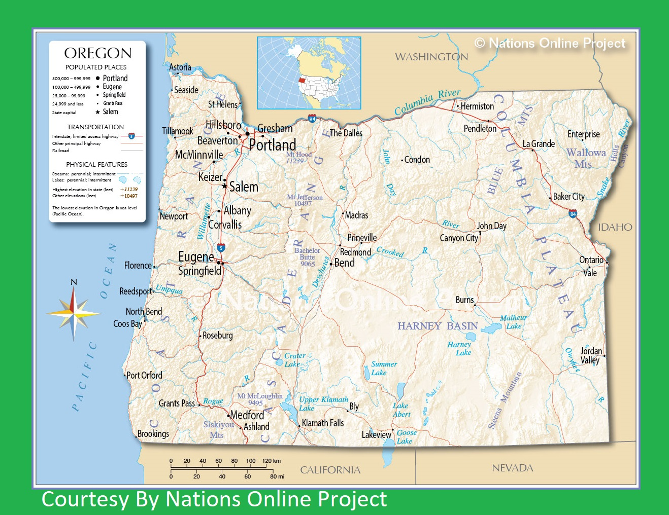 photograph about Printable Map of Oregon named Oregon Transport and bodily map significant printable