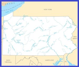 Pennsylvania Rivers Map | Large Printable High Resolution and Standard Map