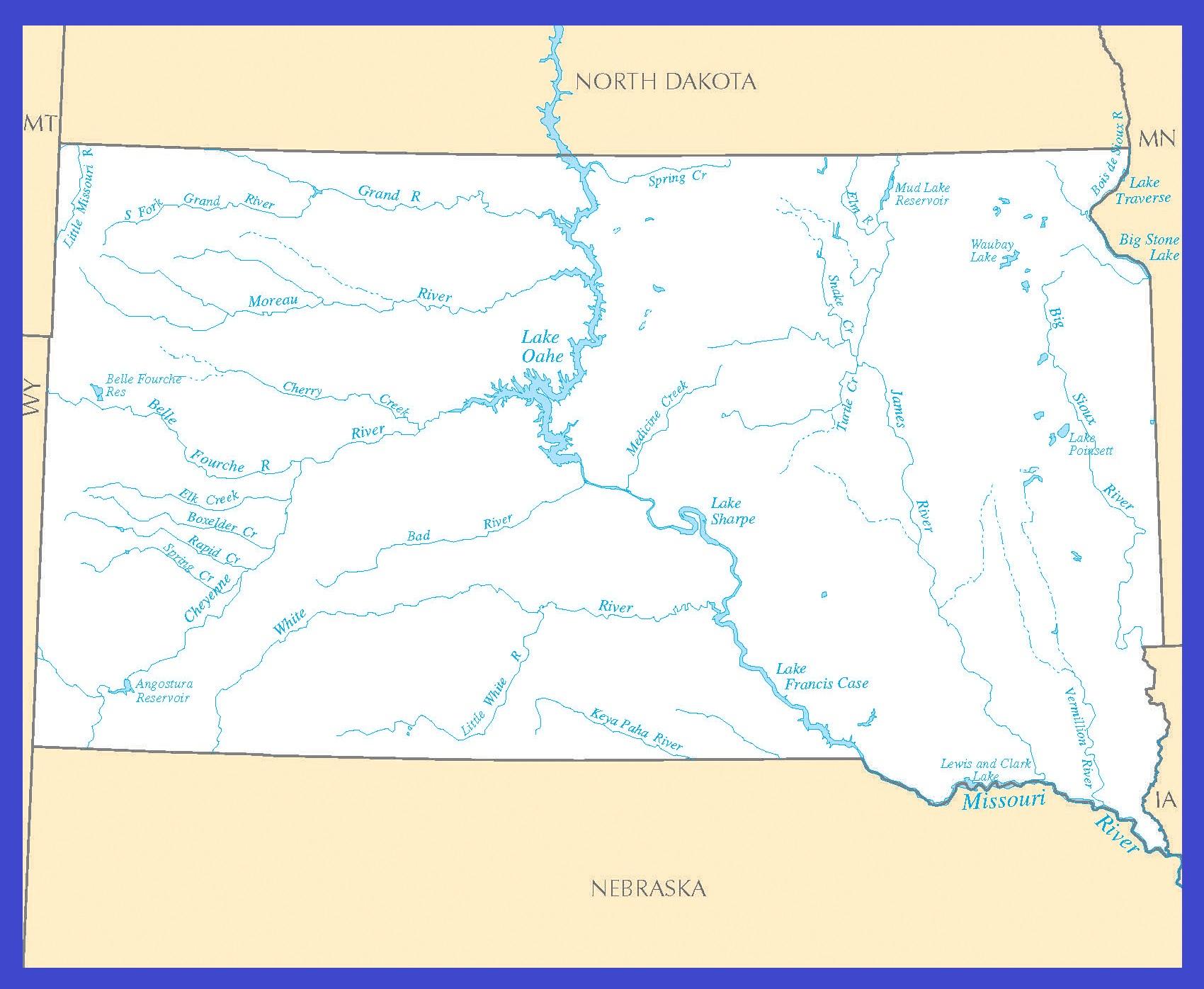 South Dakota Rivers Map | Large Printable High Resolution and Standard Map
