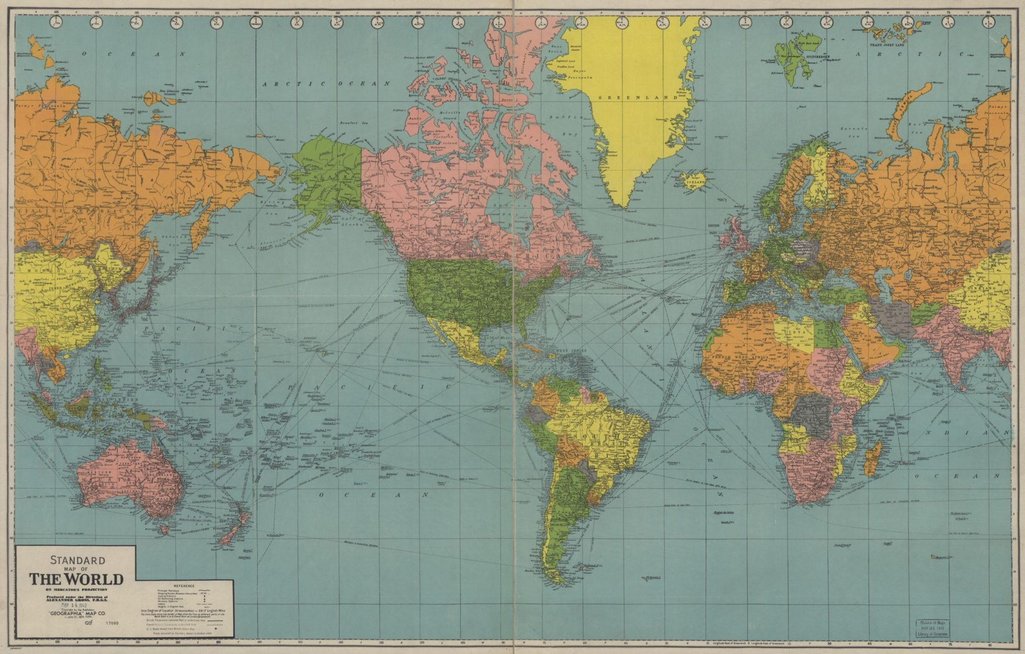 The World Political Map    1942   Large, Printable Downloadable Map