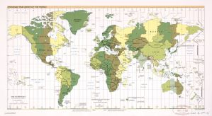 The World Standard time zones Map  | 1987 | Large, Printable Downloadable Map