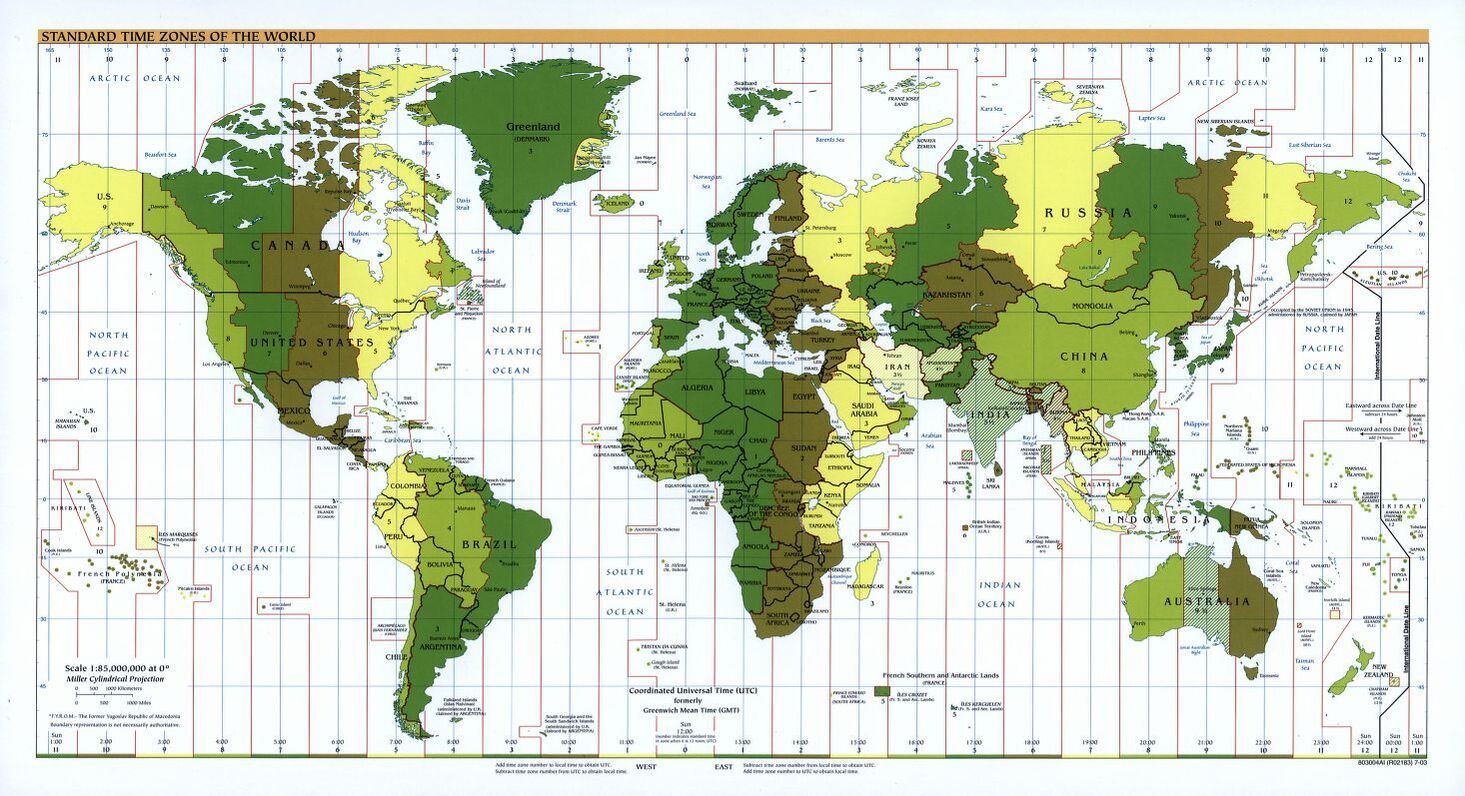 The World Standard time zones Map   | 2003 | Large, Printable Downloadable Map