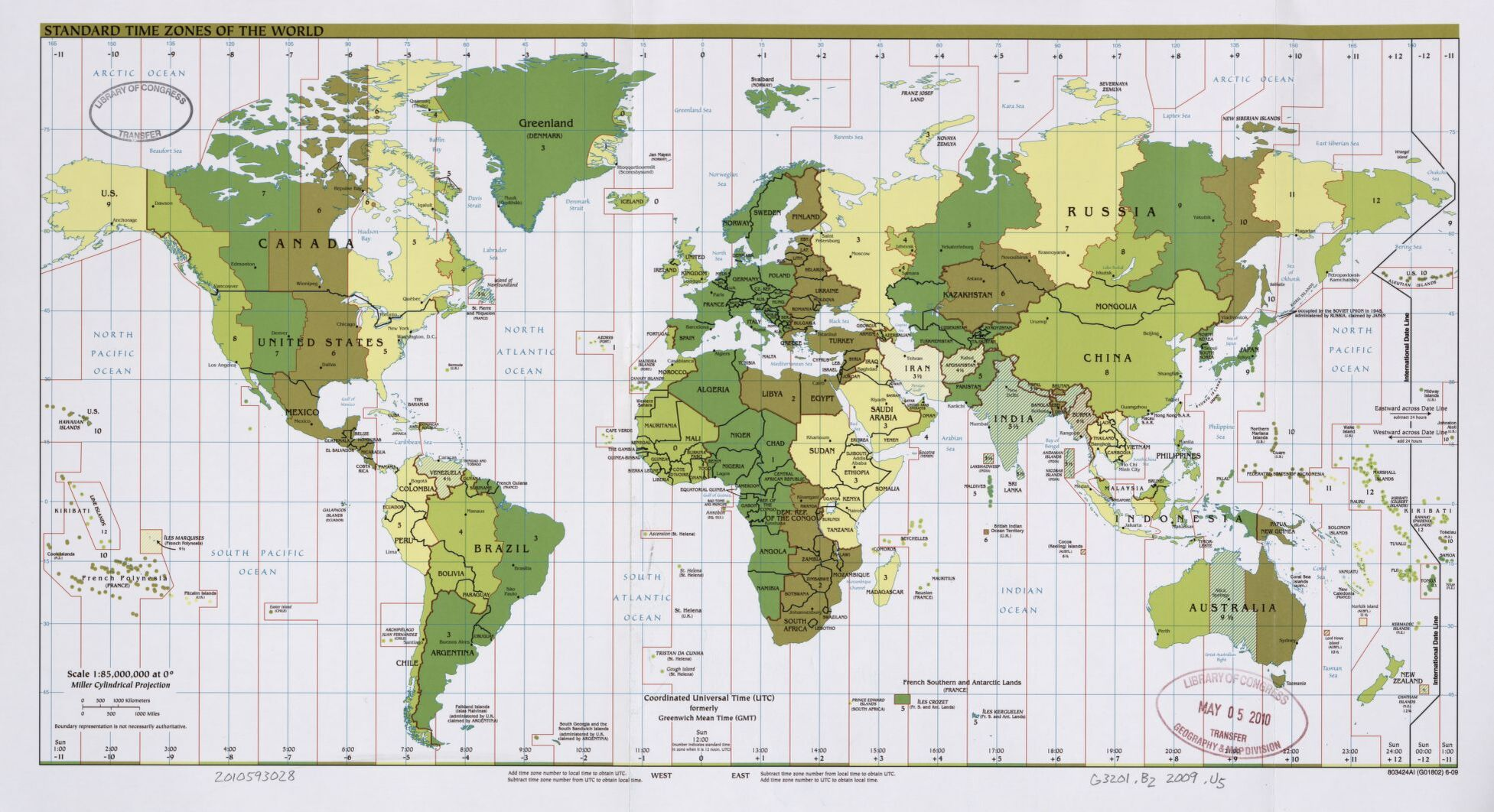 The World Standard time zones Map   | 2009 | Large, Printable Downloadable Map