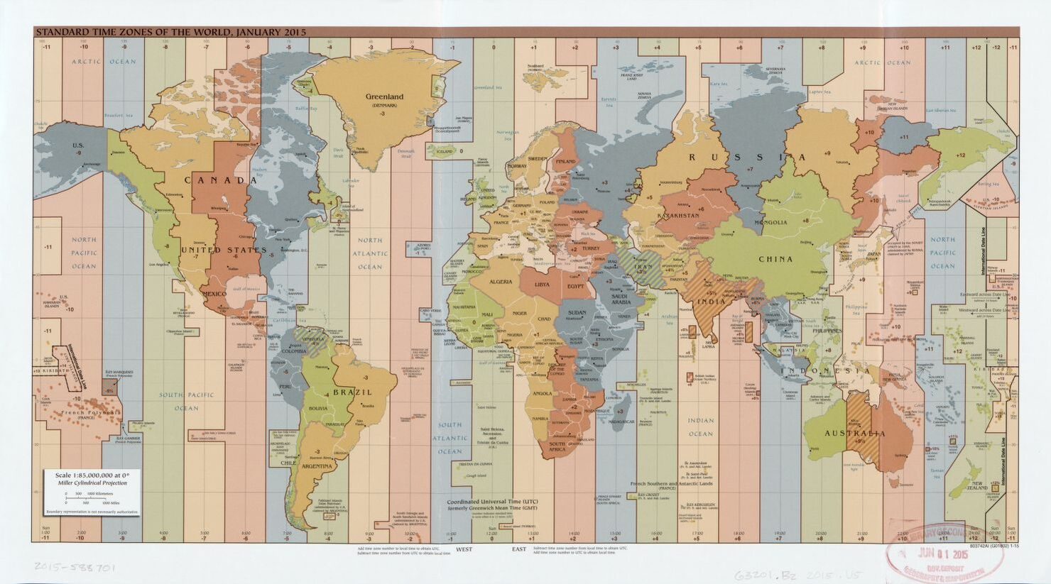 The World Standard time zones Map   | January 2015 | Large, Printable Downloadable Map