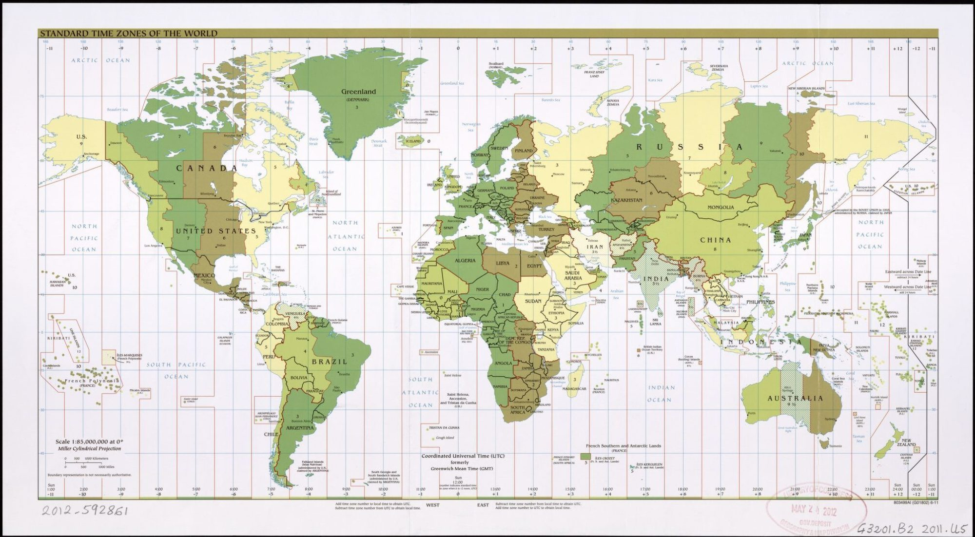 The World Standard time zones Map   | 2011 | Large, Printable Downloadable Map