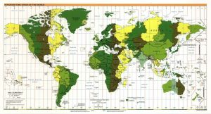 The World Standard time zones Map     1999   Large, Printable Downloadable Map