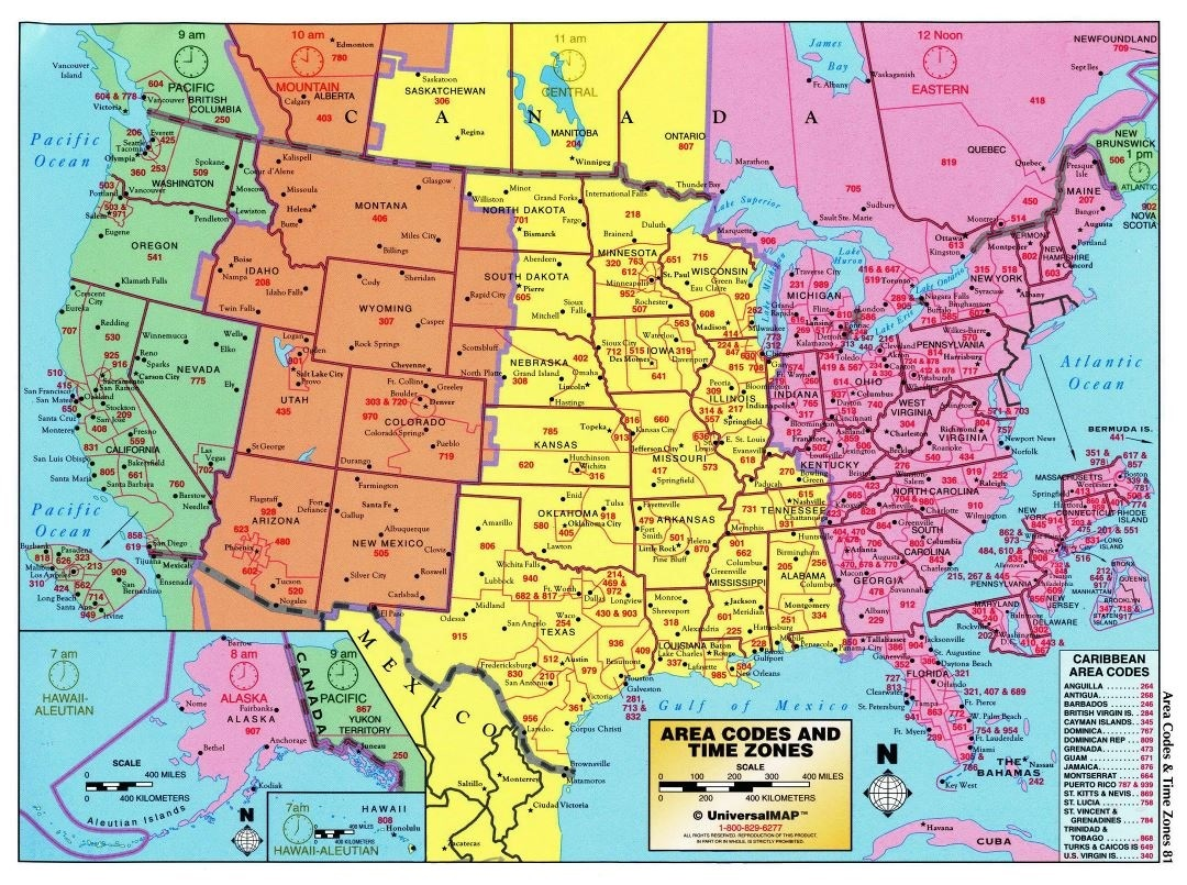 Picture of: The United States Time Zone Map Large Printable Colorful Details With Area Code Whatsanswer