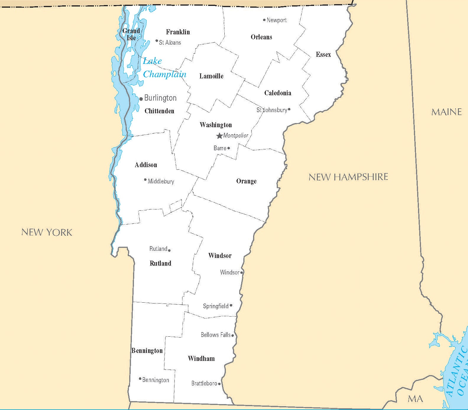 Vermont Cities Map | Large Printable High Resolution and Standard Map