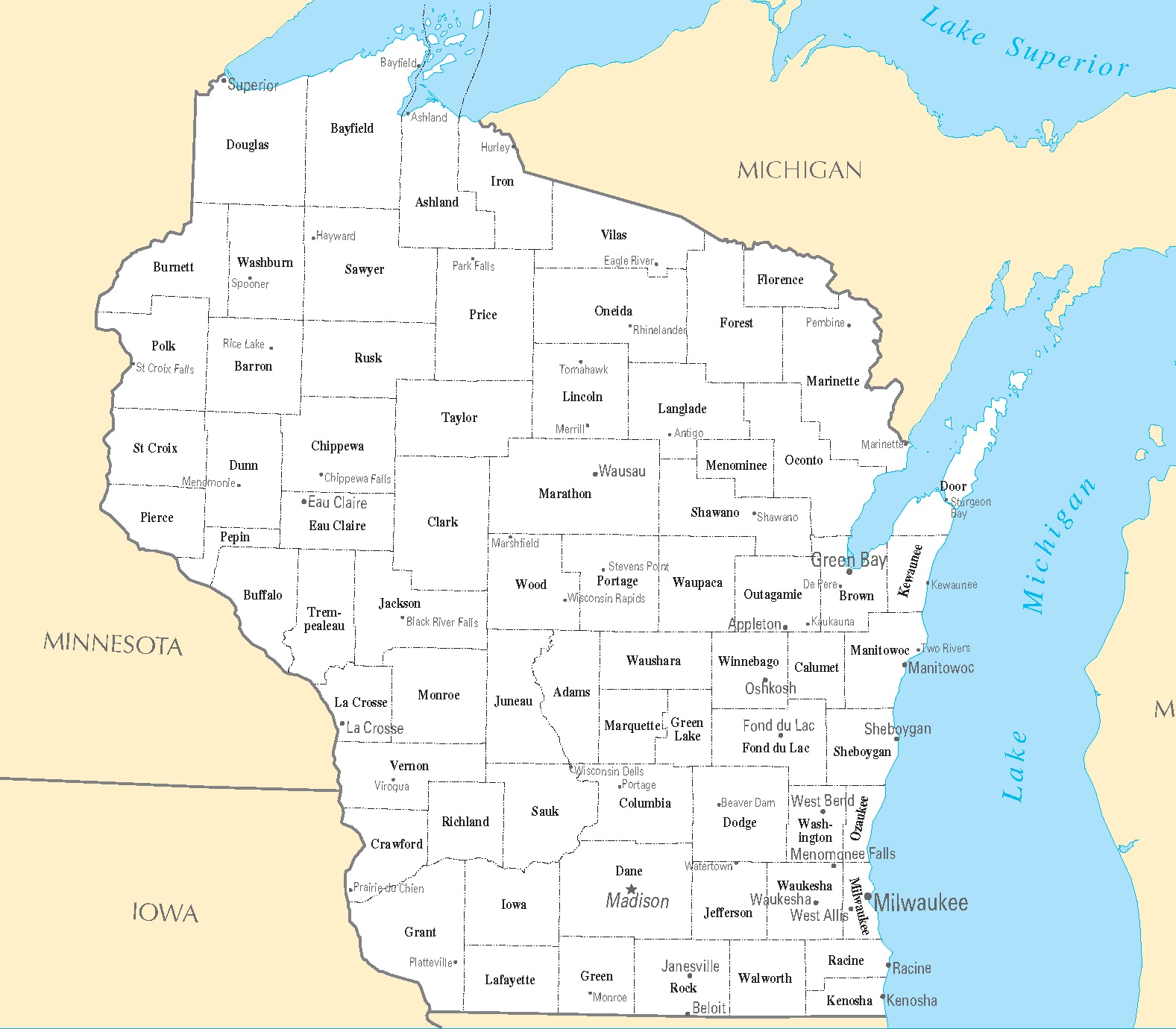 Wisconsin City Map   Large Printable High Resolution and Standard Map