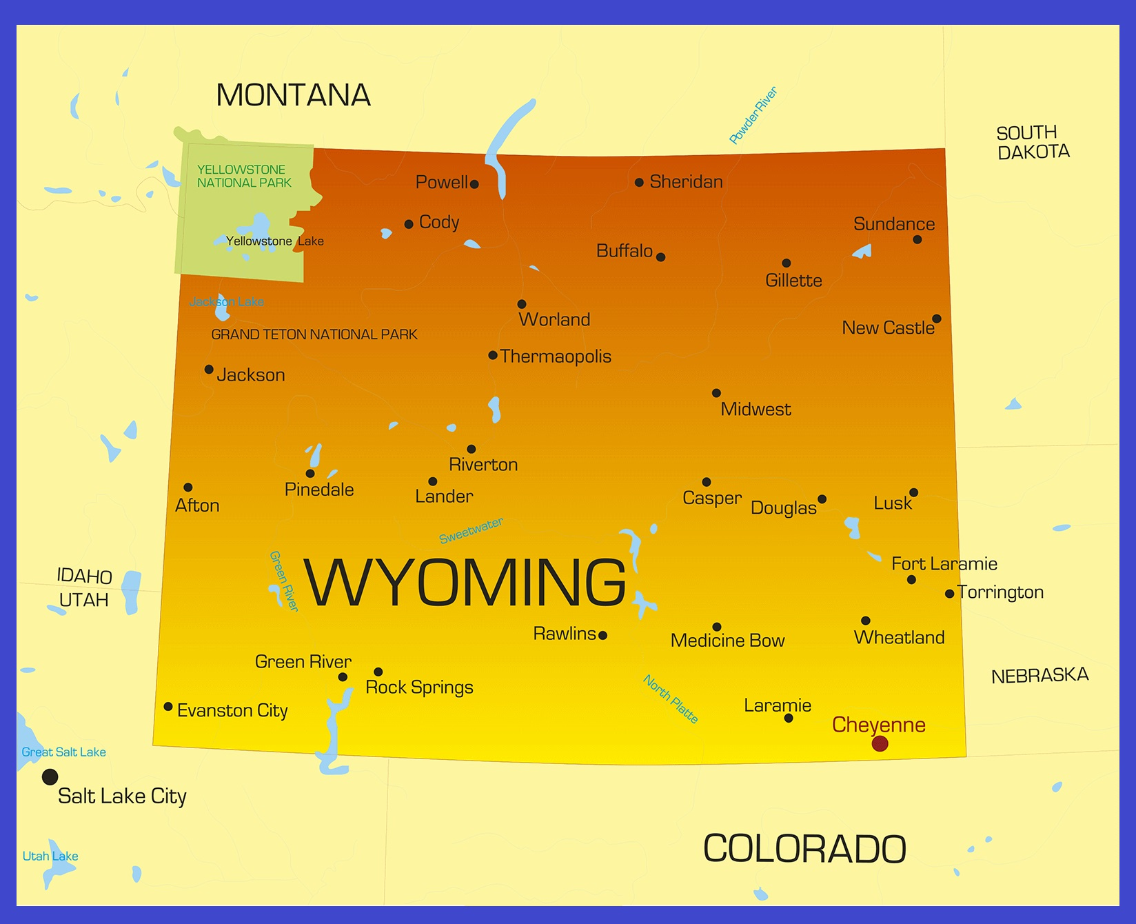 Wyoming Details Map | Large Printable High Resolution and Standard Map