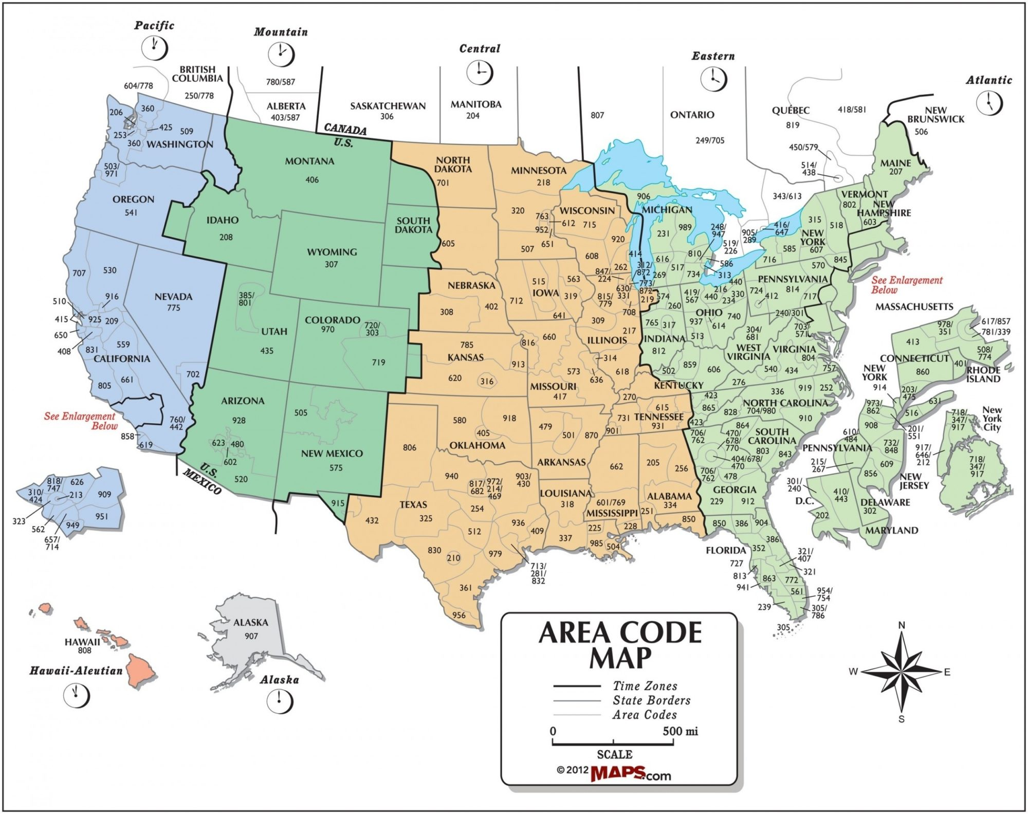 The United States Time Zone Map With Area Code | Large ...