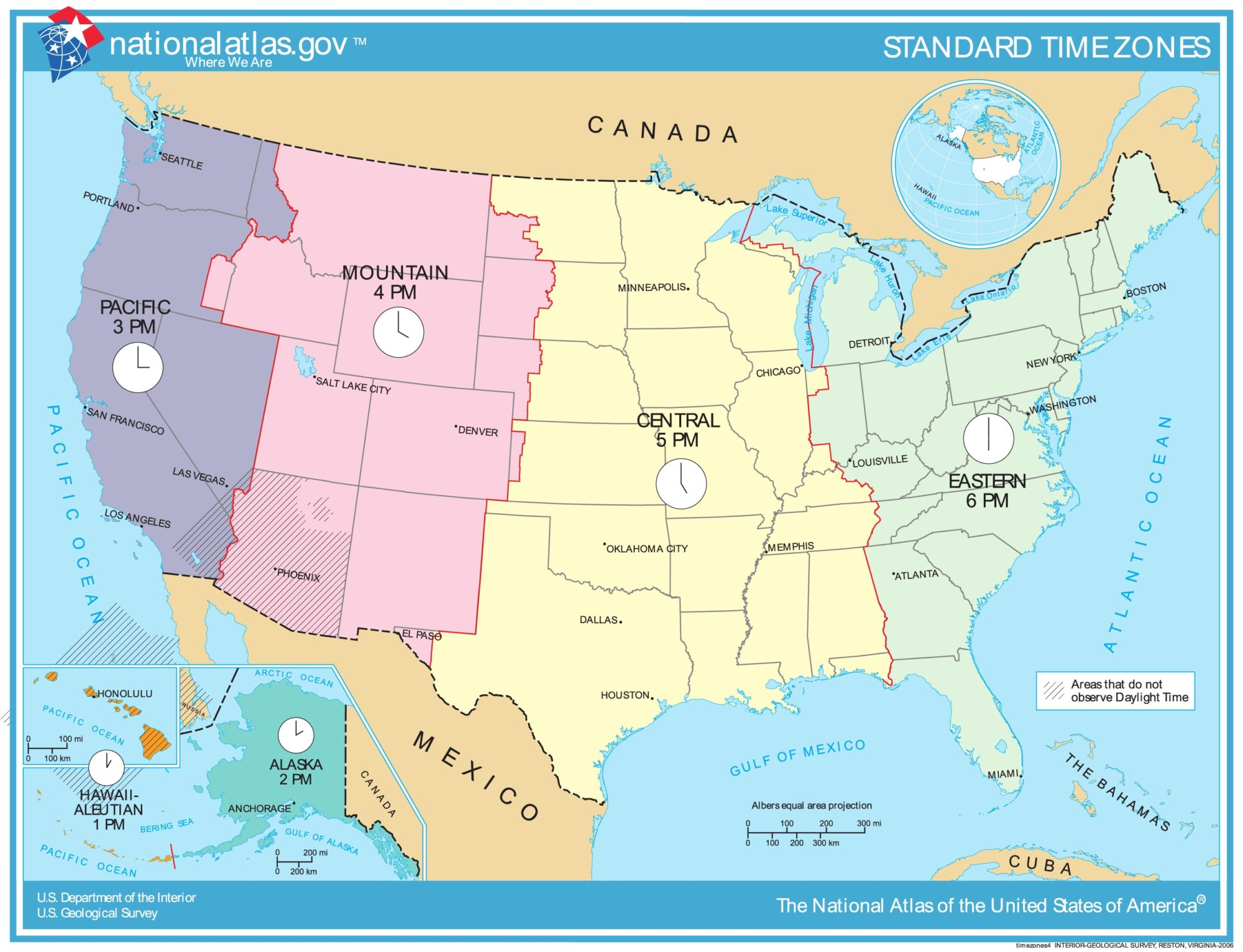 US Time Zone Map | US Map With Different Time Zone