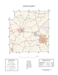 Coffee County Map |  Printable Gis Rivers map of Coffee Alabama