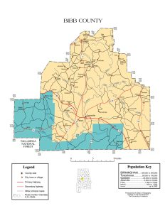 Bibb County Map |  Printable Gis Rivers map of Bibb Alabama