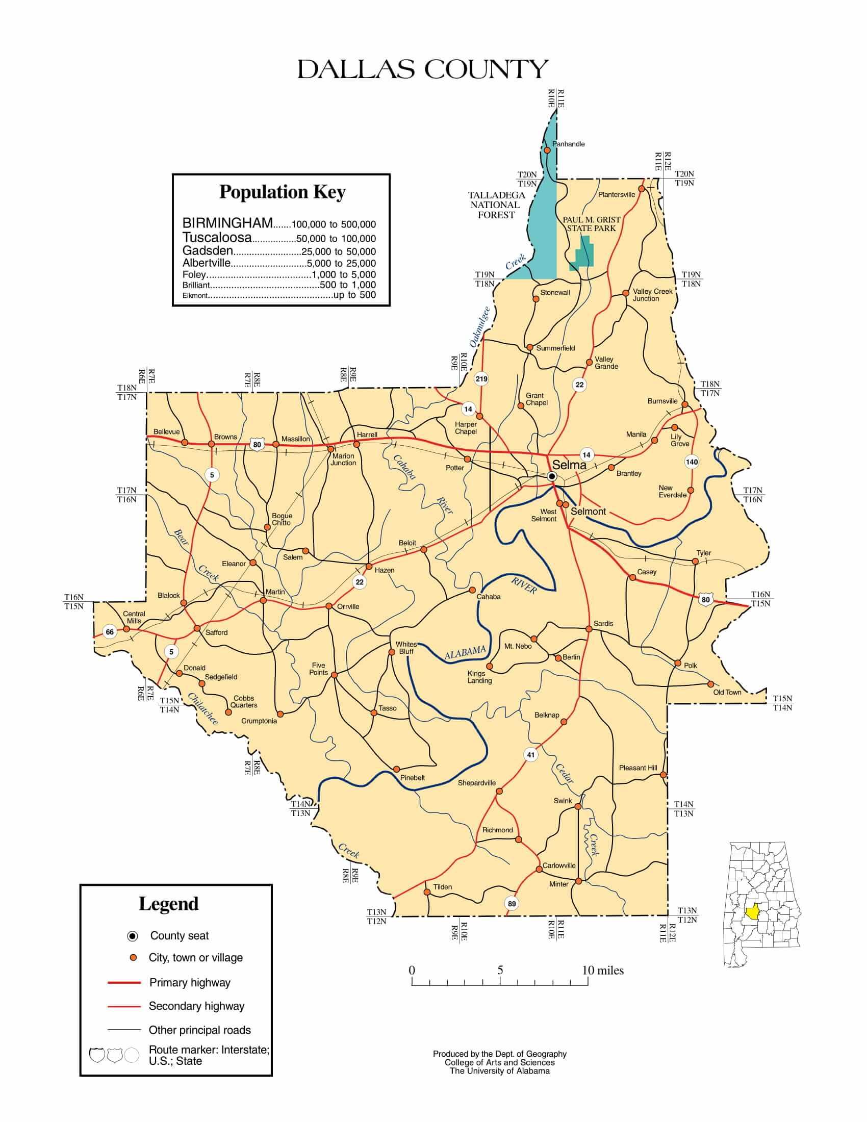 Dallas County Map    Printable Gis Rivers map of Dallas Alabama