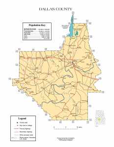 Dallas County Map |  Printable Gis Rivers map of Dallas Alabama