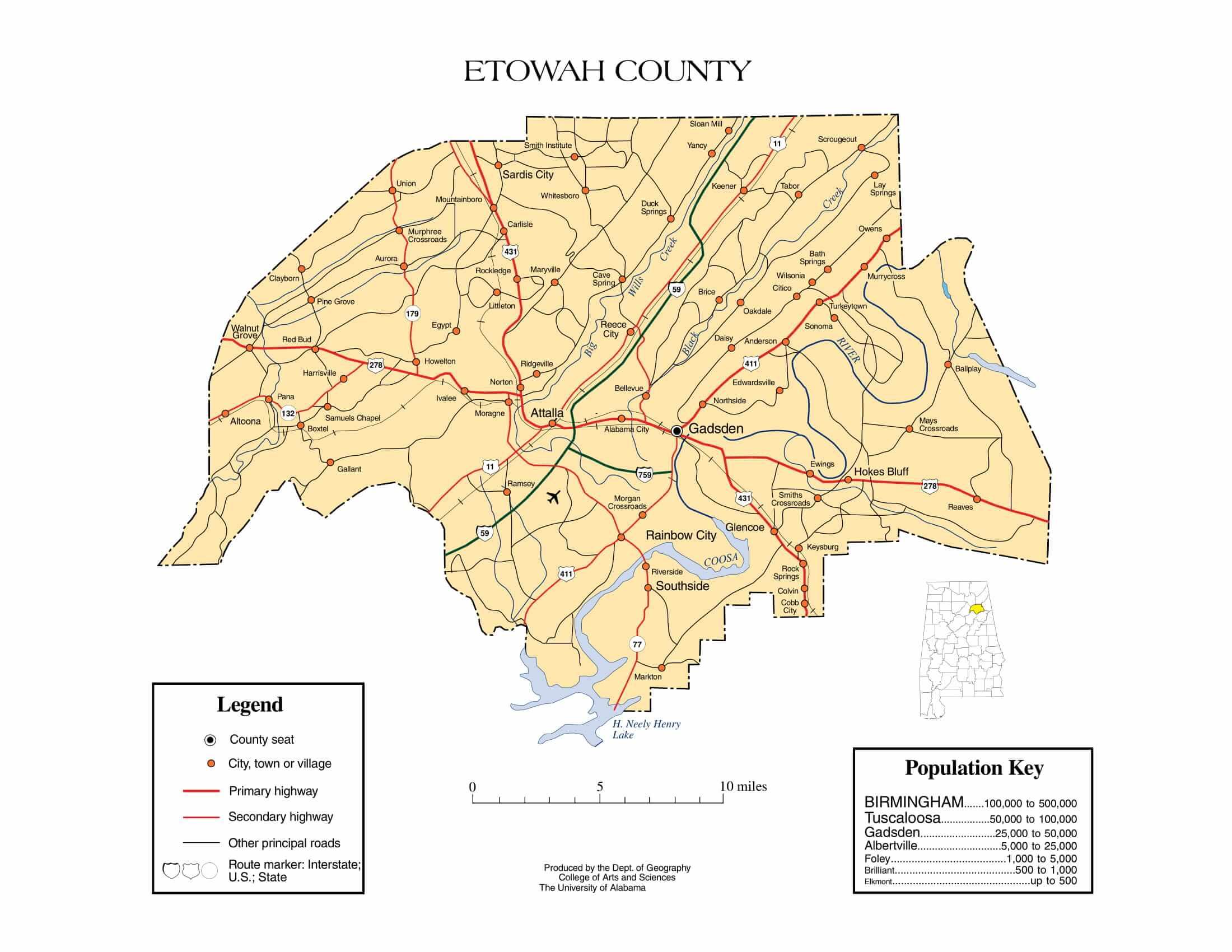 Etowah County Map |  Printable Gis Rivers map of Etowah Alabama