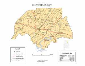 Etowah County Map |  Printable Gis Rivers map of Etowah Alabama