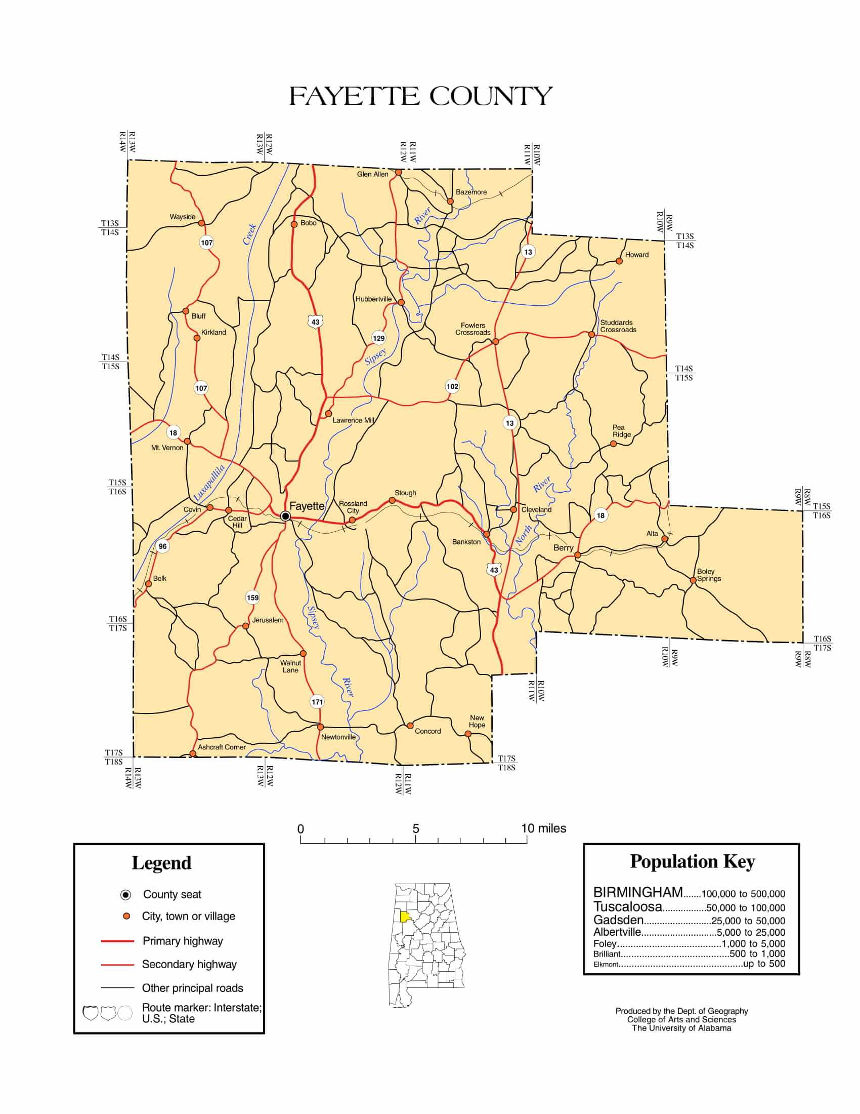 Fayette County Map |  Printable Gis Rivers map of Fayette Alabama