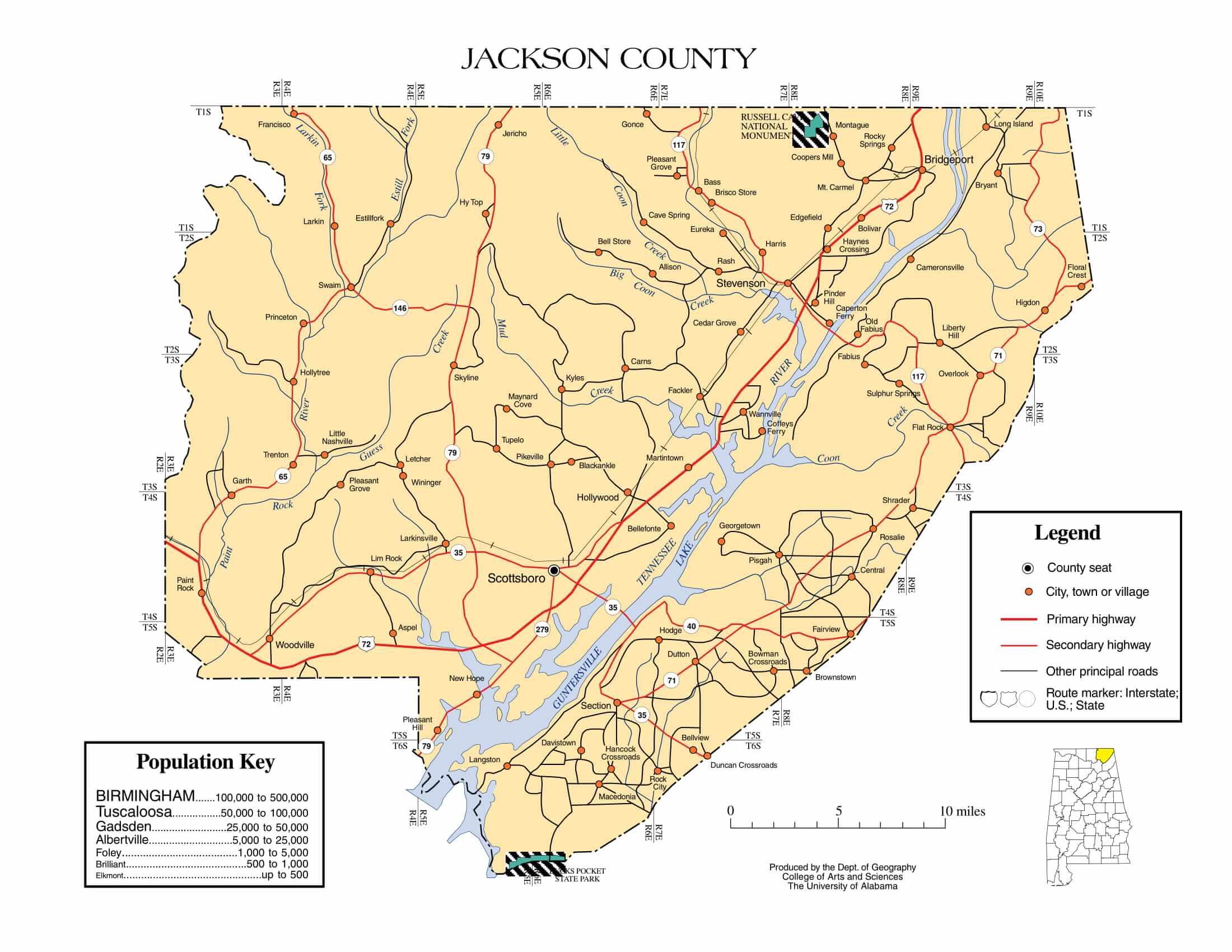 Jackson County Map |  Printable Gis Rivers map of Jackson Alabama