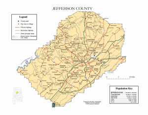 Jefferson County Map |  Printable Gis Rivers map of Jefferson Alabama