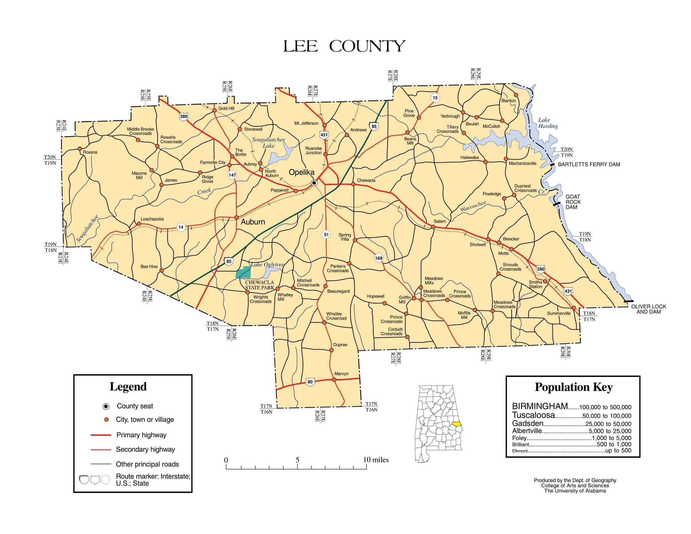 Lee County Map |  Printable Gis Rivers map of Lee Alabama