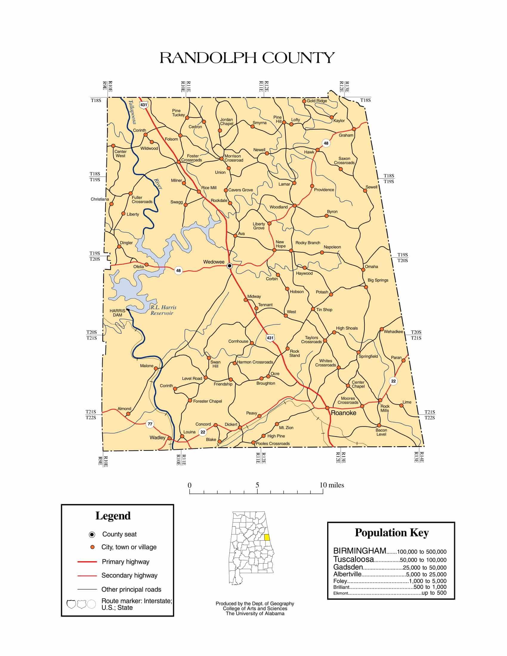 Randolph County Map    Printable Gis Rivers map of Randolph Alabama