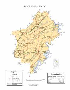 St. Clair County Map |  Printable Gis Rivers map of St. Clair Alabama