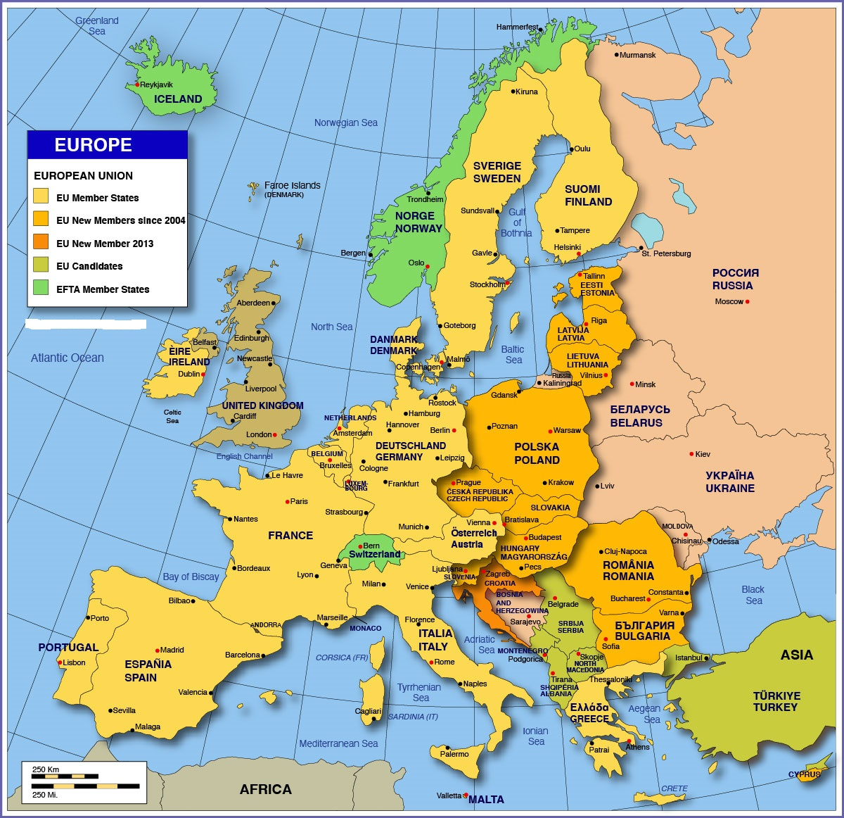 Map of Europe | Large Political Map of Europe