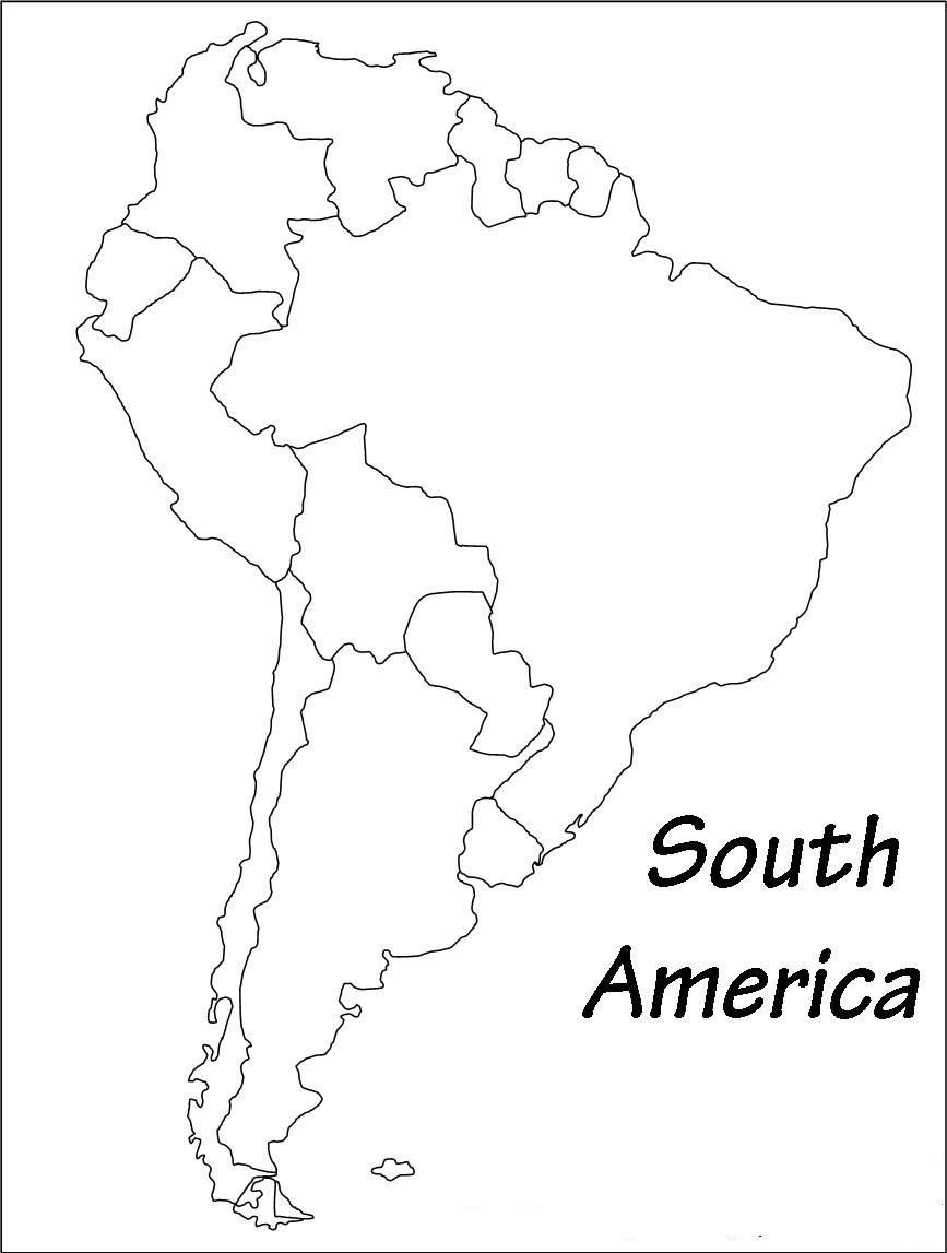 Outline Of South America Blank Printable Map Of South America Whatsanswer