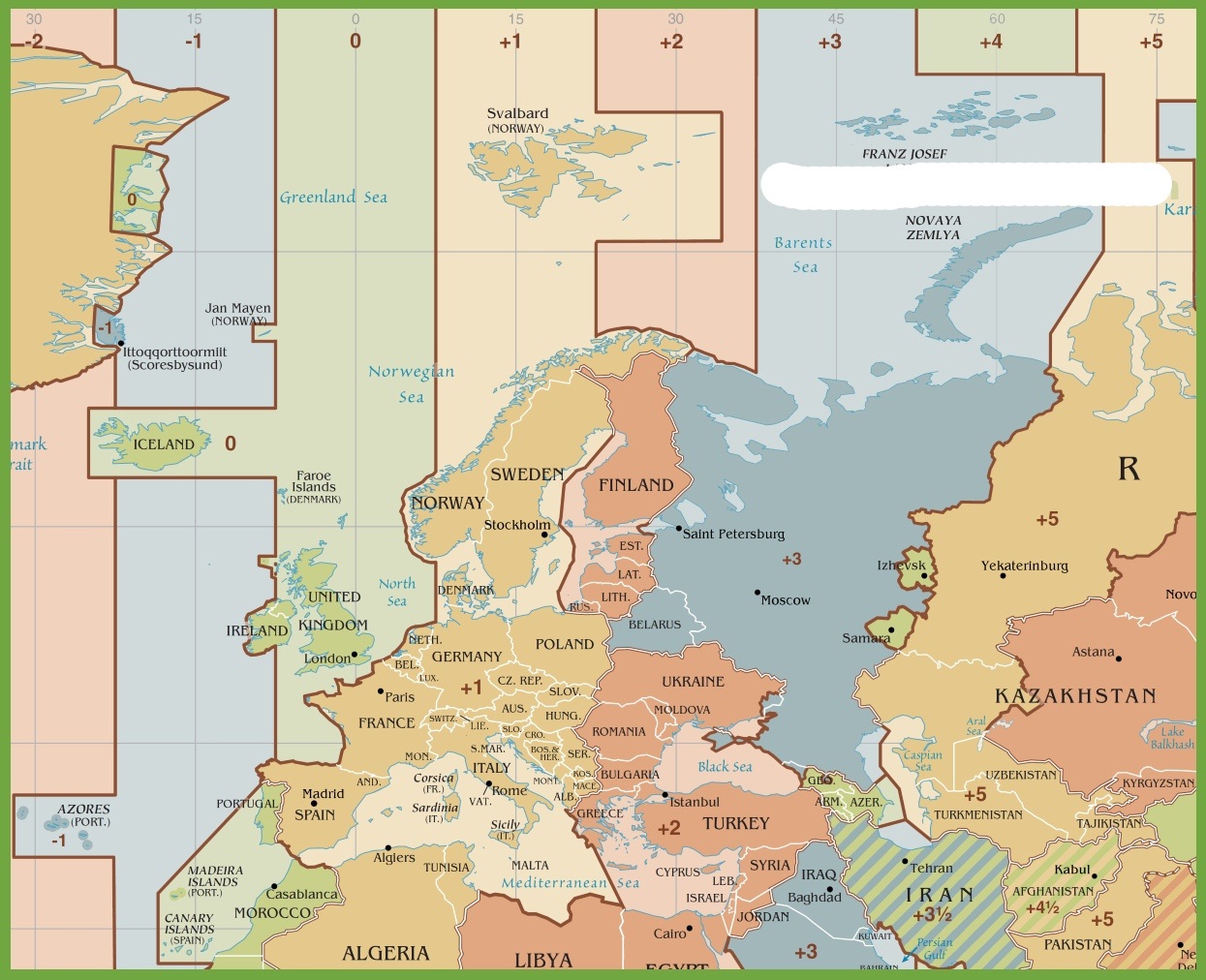 Time Zone Map of Europe | HD Time Zone Map
