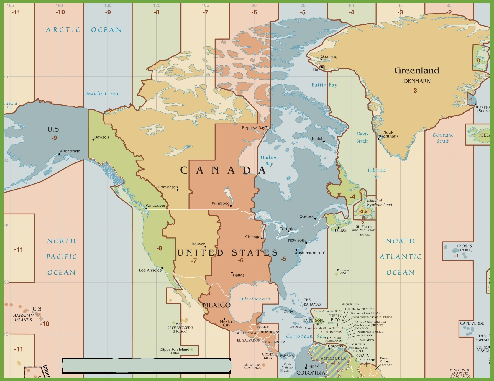 Time Zone Map of North America | North America Map