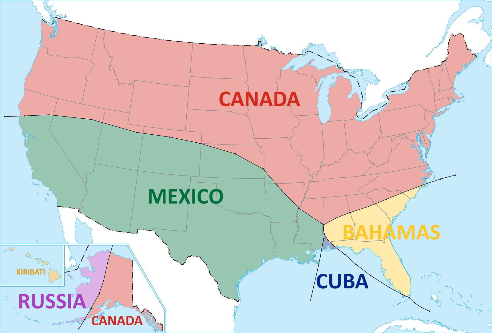 Border Map of USA | Detailed USA Boundary Map